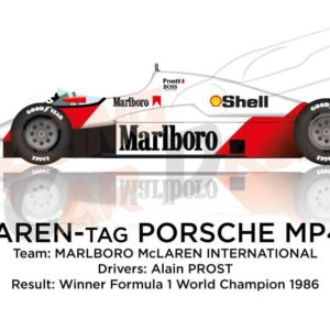 McLaren - Tag Porsche MP4/2C n.1 winner Formula 1 World Champion 1986