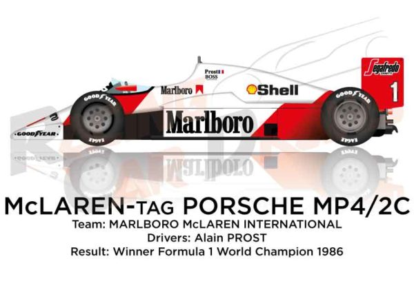 McLaren - Tag Porsche MP4/2C n.1 winner Formula 1 World Champion 1986