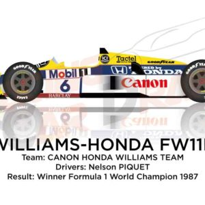 Williams - Honda FW11B n.6 winner Formula 1 World Champion 1987