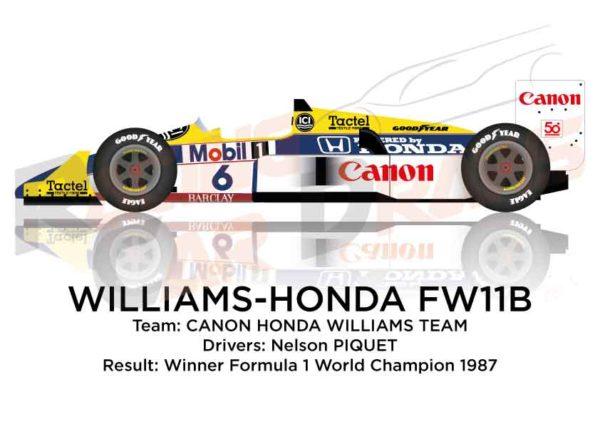 Williams - Honda FW11B n.6 winner Formula 1 World Champion 1987