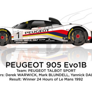 Peugeot 905 Evo1B n.1 Winner 24 Hours of Le Mans 1992