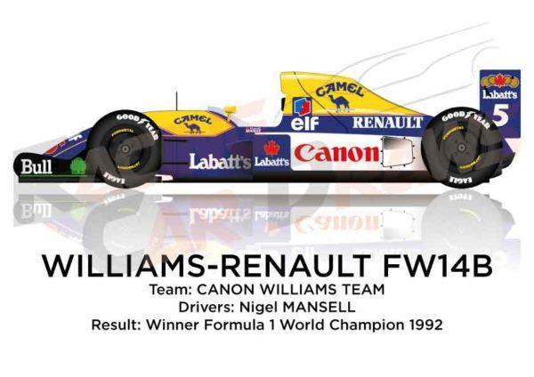 Williams - Renault FW14B n.5 winner Formula 1 World Champion 1992