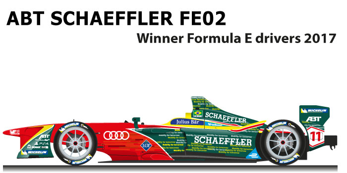 ABT Schaeffler FE02 n.11 winner Formula E World Champion with Lucas Di Grassi