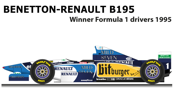 Benetton Renault B195 Formula 1 Champion 1995 with Schumacher