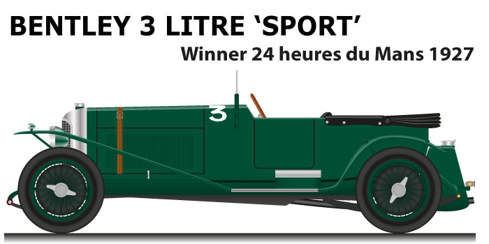 Bentley 3 Litre 'Sport' n.3 winner 24 Hours of Le Mans 1927