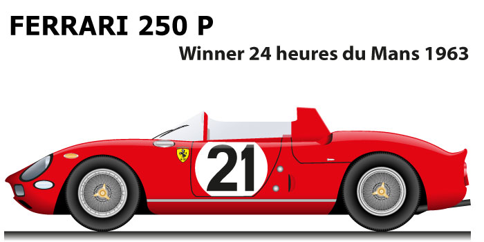 Ferrari 250 P n.21 winner 24 Hours of Le Mans 1963 with Scarfiotti and Bandini