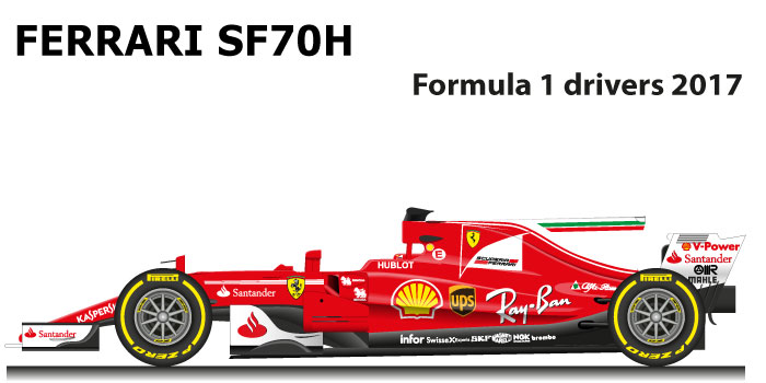 Ferrari SF70H n.5 second at the Formula 1 World Champion 2017