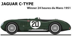 Jaguar C-Type n.20 winner 24 Hours of Le Mans 1951 with Walker and Whitehead