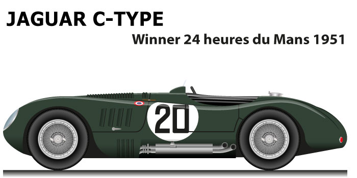 Jaguar C-Type n.20 winner 24 Hours of Le Mans 1951 with Walker and Whitehead