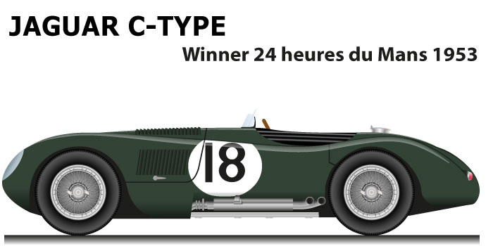 Jaguar C-Type n.18 winner 24 Hours of Le Mans 1953 with Rolt and Hamilton