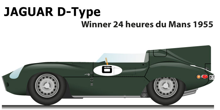 Jaguar D-Type n.6 winner 24 Hours of Le Mans 1955 with Hawthorn and Bueb