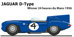 Jaguar D-Type n.4 winner 24 Hours of Le Mans 1956 with Flockhart and Sanderson