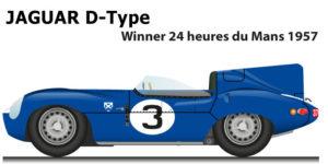 Jaguar D-Type n.3 winner 24 Hours of Le Mans 1957 with Flockhart and Bueb