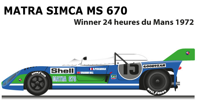 Matra Simca MS 670 n.15 winner 24 Hours of Le Mans 1972