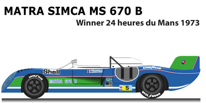 Matra Simca MS 670 B n.11 winner 24 Hours of Le Mans 1973