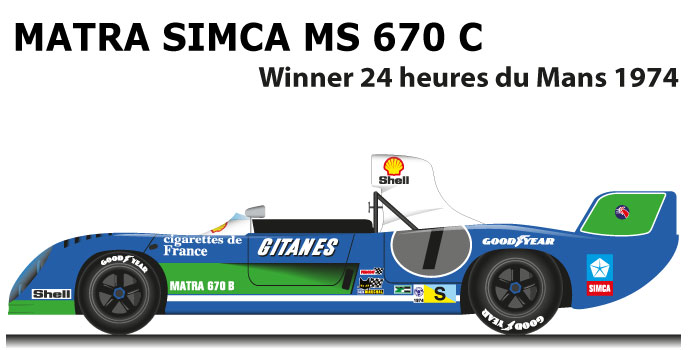 Matra Simca MS 670 C n.7 winner 24 Hours of Le Mans 1974