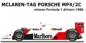 McLaren - TAG Porsche MP4/2C n.1 winner Formula 1 Champion 1986
