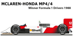 McLaren Honda MP4/4 Formula 1 Champion 1988 with Ayrton Senna