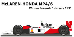 McLaren Honda MP4/6 Formula 1 Champion 1991 with Ayrton Senna
