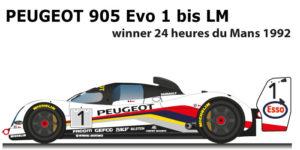 Peugeot 905 Evo 1 bis LM n.1 Winner 24 Hours of Le Mans 1992