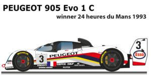 Peugeot 905 Evo 1 B n.3 Winner 24 Hours of Le Mans 1993