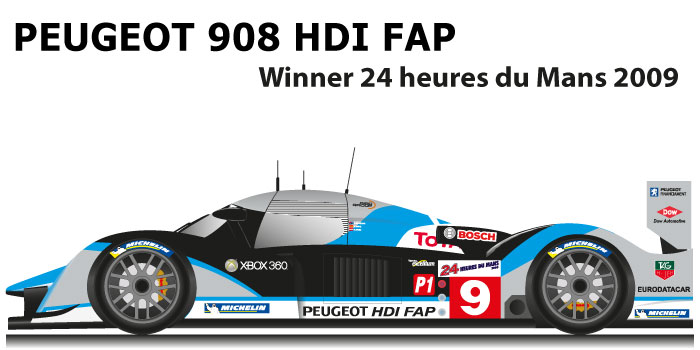 Peugeot 908 HDI FAP n.9 Winner 24 hours of Le Mans 2009