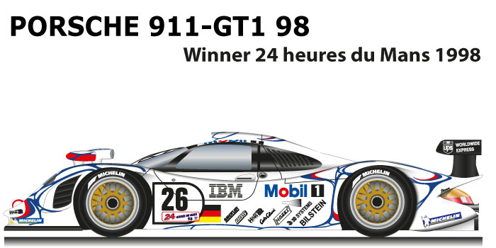 Porsche 911 GT1-98 n.26 Winner 24 Hours of Le Mans 1998