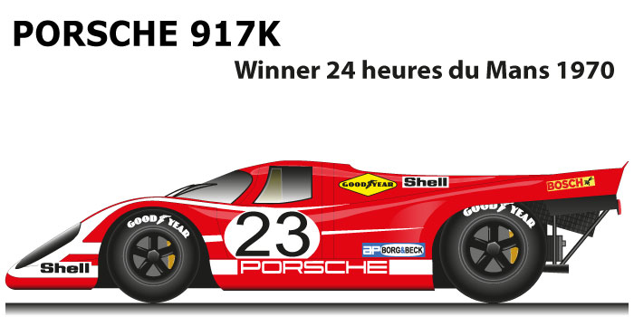 Porsche 917 K n.23 winner 24 Hours of Le Mans 1970 with Hermann and Attwood