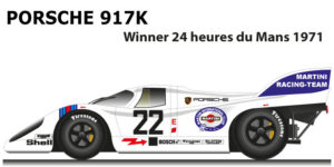 Porsche 917 K n.22 winner 24 Hours of Le Mans 1971 with Marko and van Lennep