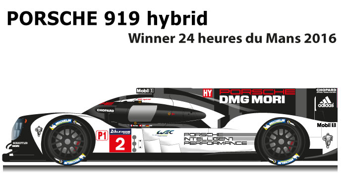Porsche 919 hybrid n.2 Winner 24 Hours of Le Mans 2016