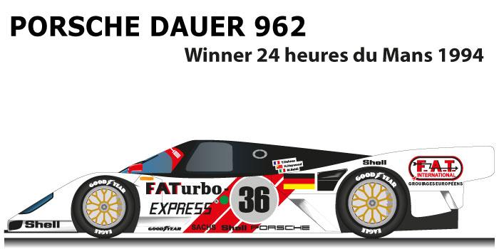 Porsche Dauer 962 GT LM n.36 Winner 24 Hours of Le Mans 1994