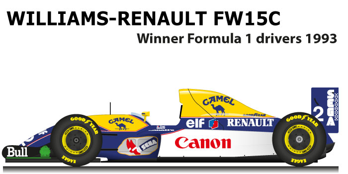 Williams Renault FW15C winner Formula 1 Champion 1993 with Alain Prost