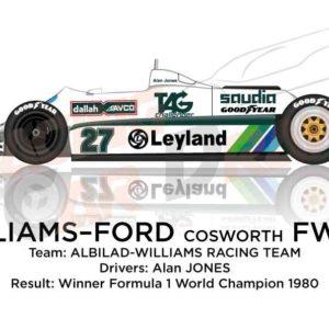Williams - Ford Cosworth FW07B n.27 Formula World Champion 1980