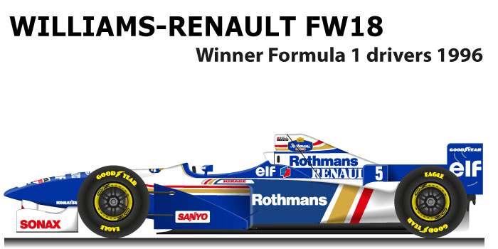 Williams Renault FW18 winner Formula 1 Champion 1996 with Hill