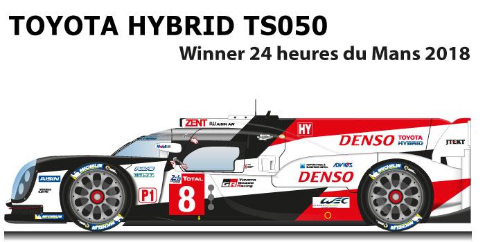 toyota hybrid ts050 winner le mans 2018 n8 racing car draws. Black Bedroom Furniture Sets. Home Design Ideas