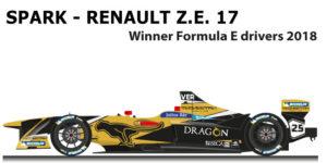 Spark Renault Z.E. 17 n.25 winner Formula E World Champion with Vergne
