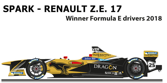 Spark - Renault Z.E. 17 n.25 winner Formula E World Champion with Vergne