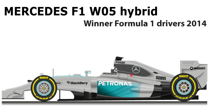 Mercedes F1 W05 Hybrid n.44 winner Formula 1 World Champion with Hamilton
