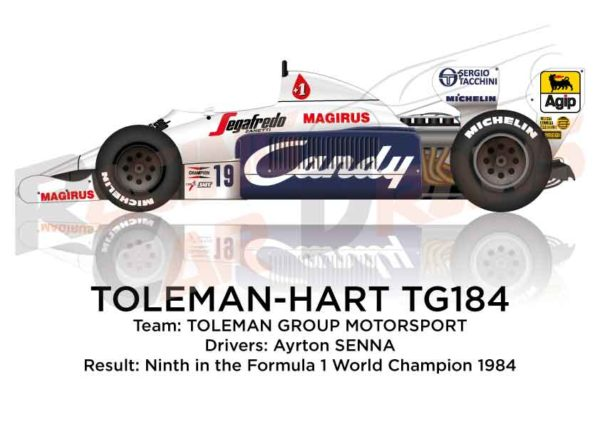 Toleman - Hart TG184 n.19 ninth in the Formula 1 World Champion 1984 with Ayrton Senna
