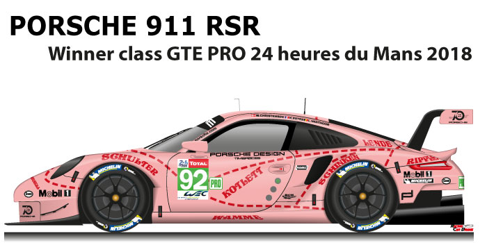 Porsche 911 RSR n.92 winner class GTE PRO 24 Hours of Le Mans 2018