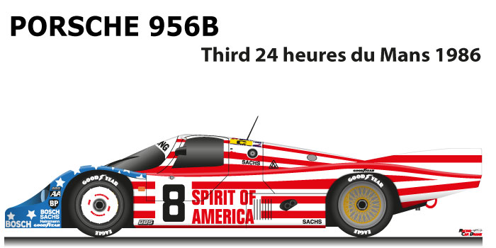 Porsche 956B n.8 third 24 Hours of Le Mans 1986 with the team Joest