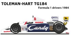 Toleman - Hart TG184 n.19 ninth Formula 1 World Champion with Senna