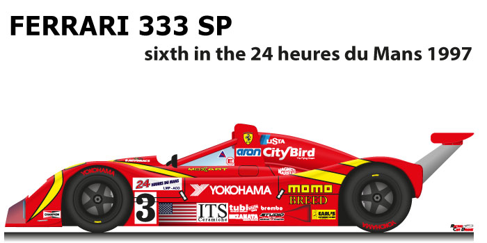 Ferrari 333 SP n.3 sixth in the 24 Hours of Le Mans 1997