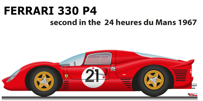 Ferrari 330 P4 n.21 second in the 24 Hours of Le Mans 1967