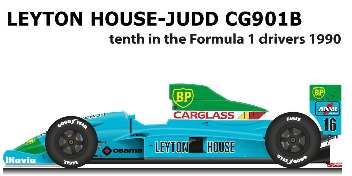 Leyton House - Judd CG901B n.16 tenth in the Formula 1 drivers 1990