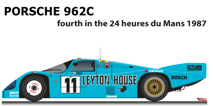 Porsche 962C n.11 fourth in the 24 Hours of Le Mans 1987