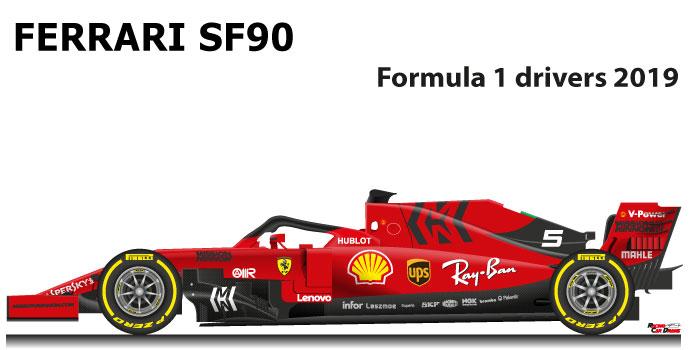 Ferrari SF90 n.5 Formula 1 2019 driver Sebastian Vettel