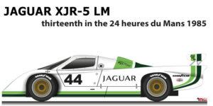 Jaguar XJR-5 LM n.44 thirteenth in the 24 Hours of Le Mans 1985