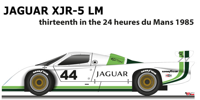 Jaguar XJR-5 LM n.44 thirteenth in the 24 Hours of Le Mans 1985