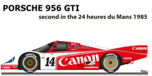 Porsche 956 GTI n.14 second in the 24 Hours of Le Mans 1985